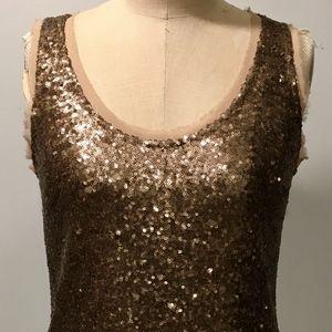 Greylin Womens Tank Top Gold Sequin Anthropologie
